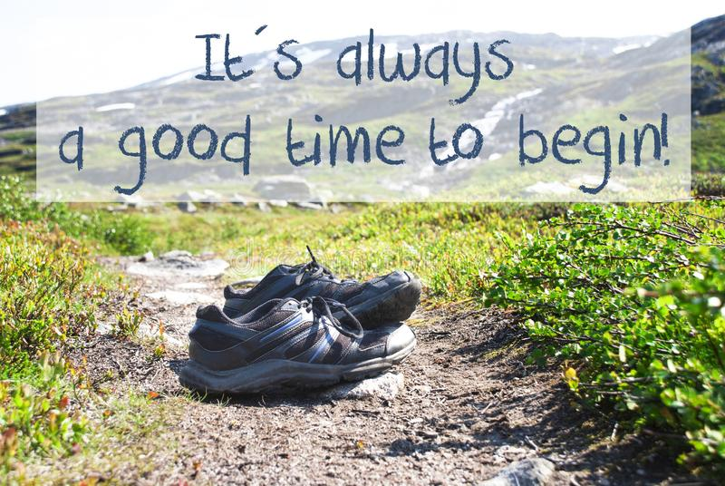 Shoes On Trekking Path, Always Good Time Begin royalty free stock photography