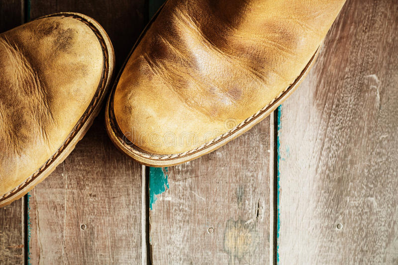 Shoes on a wooden stock image