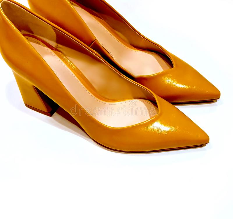 Shoes yellow natural leather women shoes on high heel summer Autumn season stock image