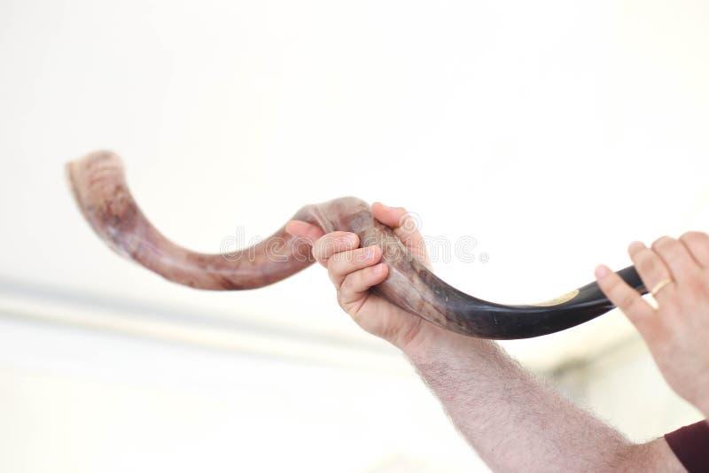 Shofar di salto, corno ebreo Shana Tova dei cervi del nuovo anno del hasanah di Rosh fotografie stock