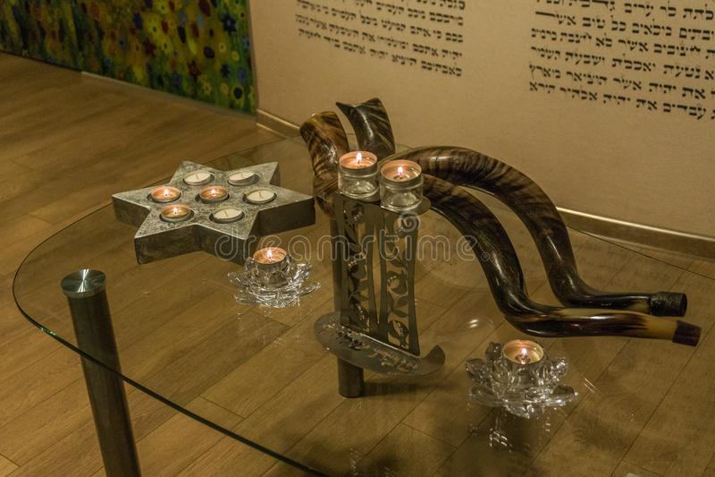 Shofar ferie synagoga judendom royaltyfri bild