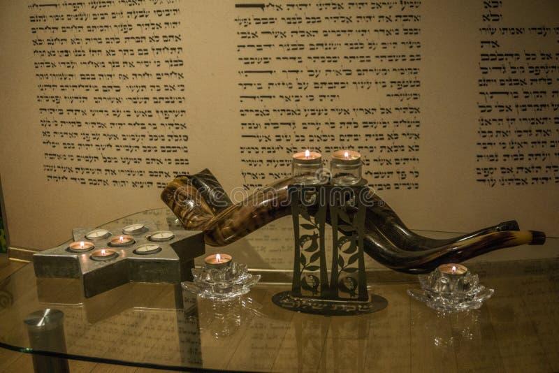 Shofar ferie synagoga judendom arkivbild