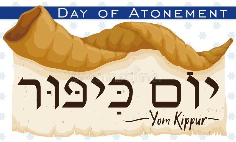 Shofar Horn over Scroll Announcing Jewish Yom Kippur, Vector Illustration. Banner with a Shofar horn over ancient scroll announcing Jewish celebration of Yom stock illustration