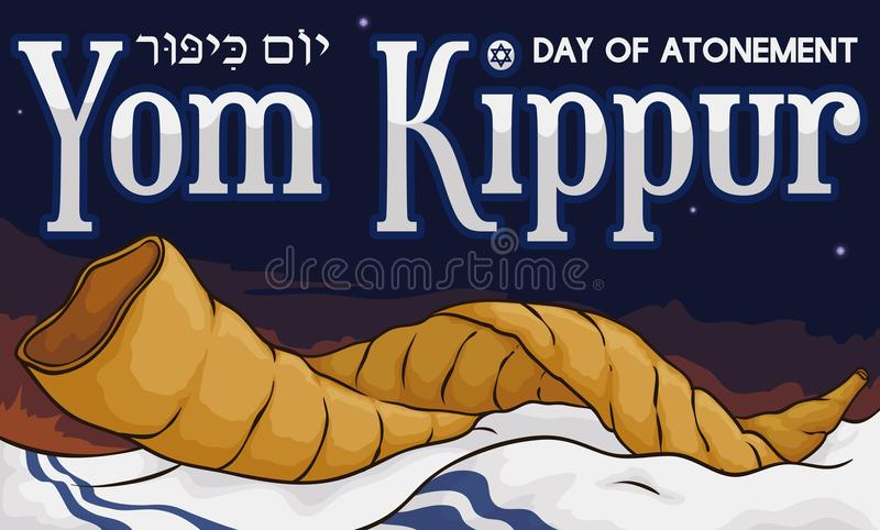 Shofar Horn over Tallit in a Dawn of Yom Kippur, Vector Illustration. Banner with a Shofar horn over a white shawl or tallit, in a sunrise of traditional Jewish royalty free illustration