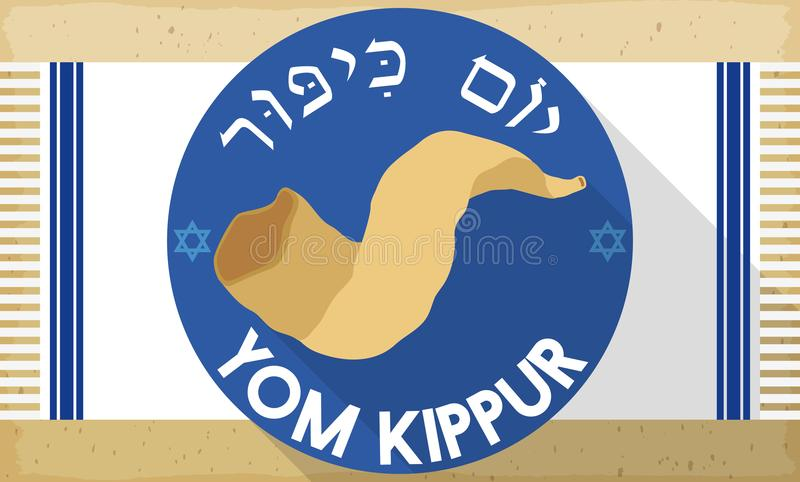 Shofar Horn over Tallit in Flat Style for Yom Kippur, Vector Illustration. Banner in flat style and long shadow with traditional Shofar horn over round label and vector illustration