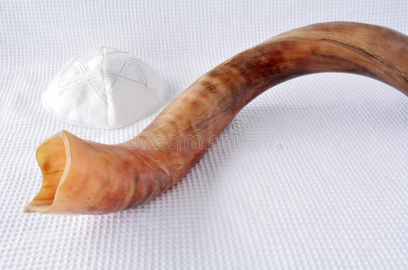 Shofar (horn) and Yamaka royalty free stock image
