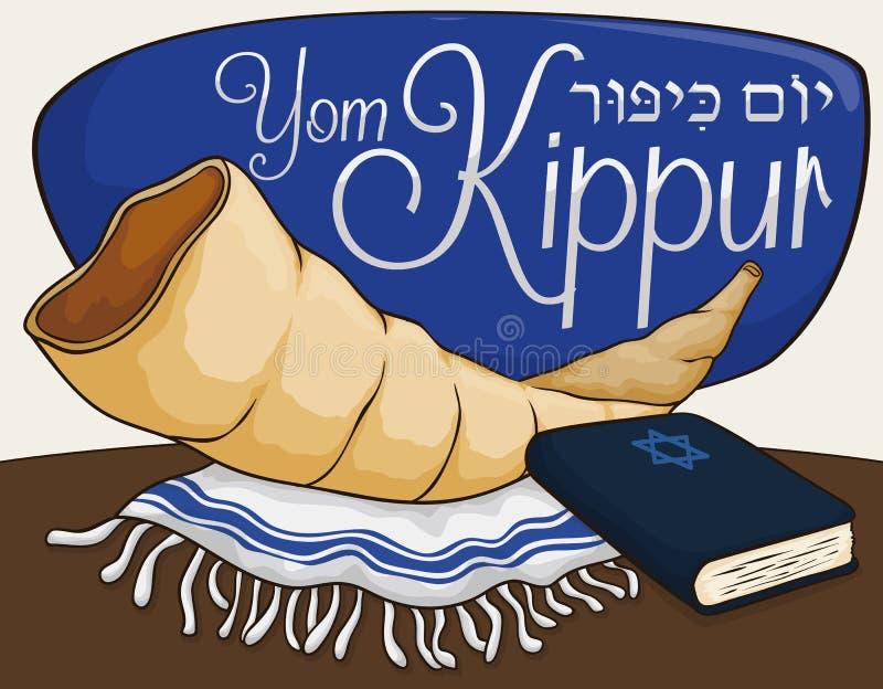 Shofar róg, Tallit i książka dla modlitw w Yom Kippur, Wektorowa ilustracja ilustracja wektor