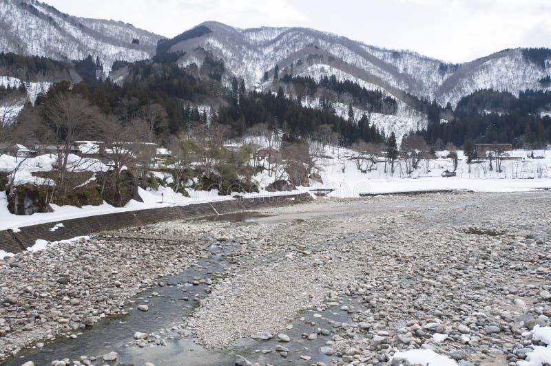 Shogawa River Valley Shirakawa-vont dedans village historique du Japon photo stock