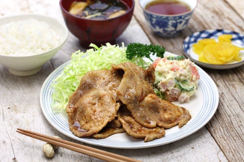 Shogayaki, ιαπωνικό χοιρινό κρέας πιπεροριζών στοκ φωτογραφία με δικαίωμα ελεύθερης χρήσης