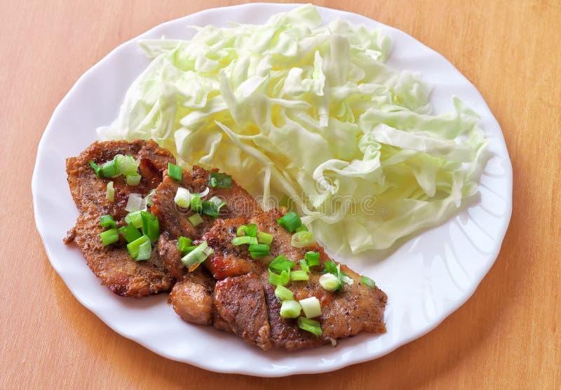 Shogayaki. Alimento japonês. Ginger Pork foto de stock