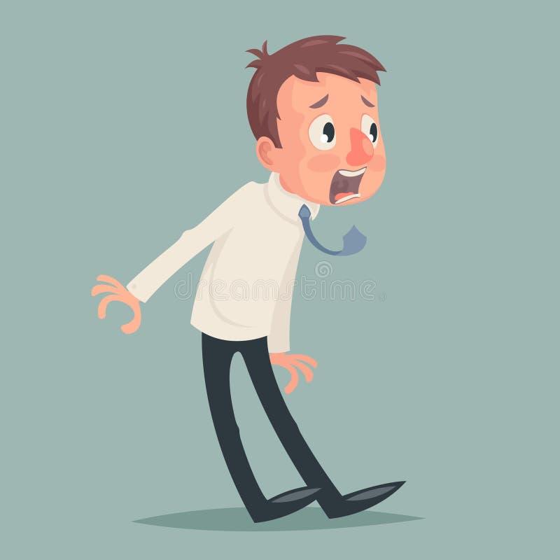 Shok emoci strachu horroru depresji stresu biznesmena charakteru ikony rocznika kreskówki projekta wektoru Retro ilustracja ilustracji