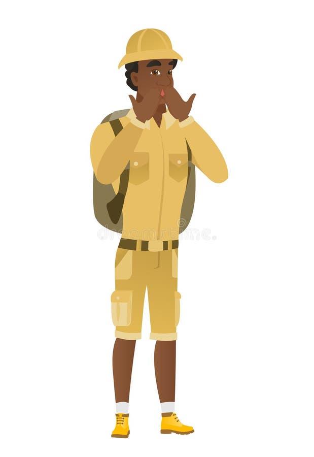 Shoked afroamerykańskiego podróżnika nakrywkowy usta ilustracja wektor