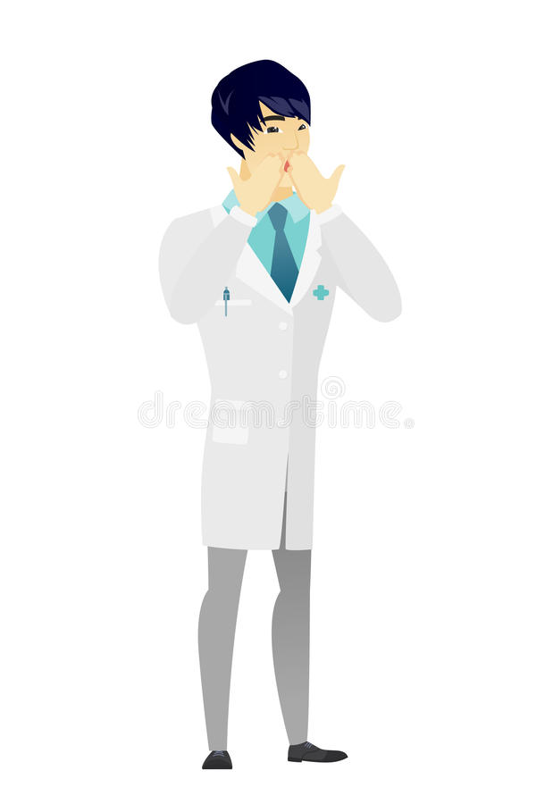 Shoked asian doctor covering his mouth. vector illustration