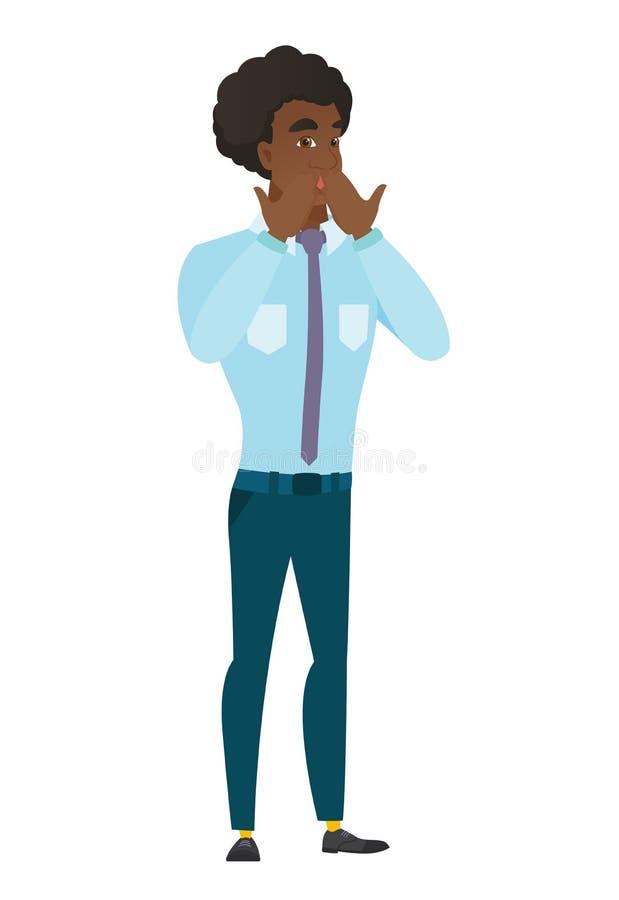 Shoked biznesmen zakrywa jego usta ilustracja wektor