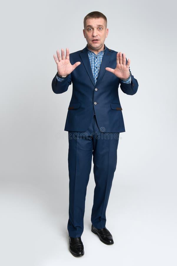Shoked businessman looking at camera royalty free stock photo