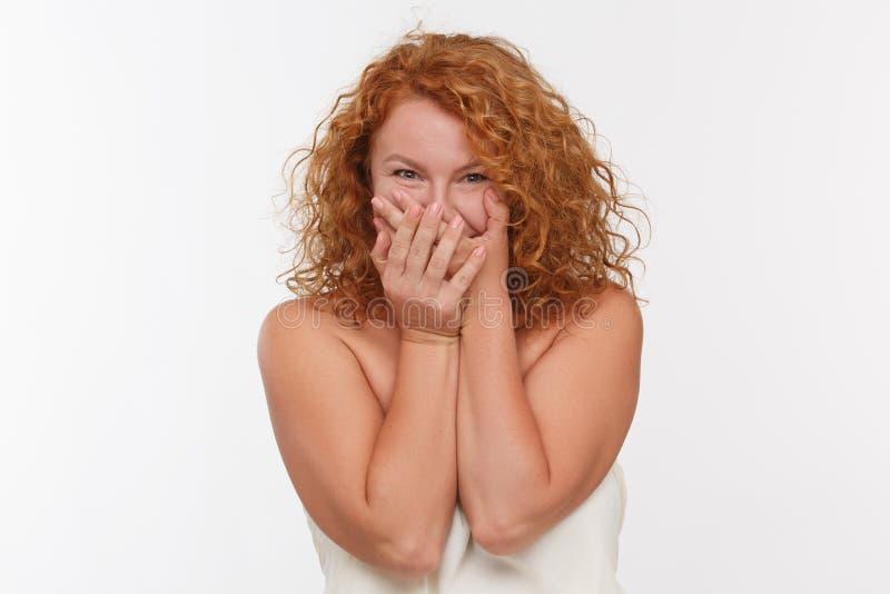 Shoked mature woman stock photography