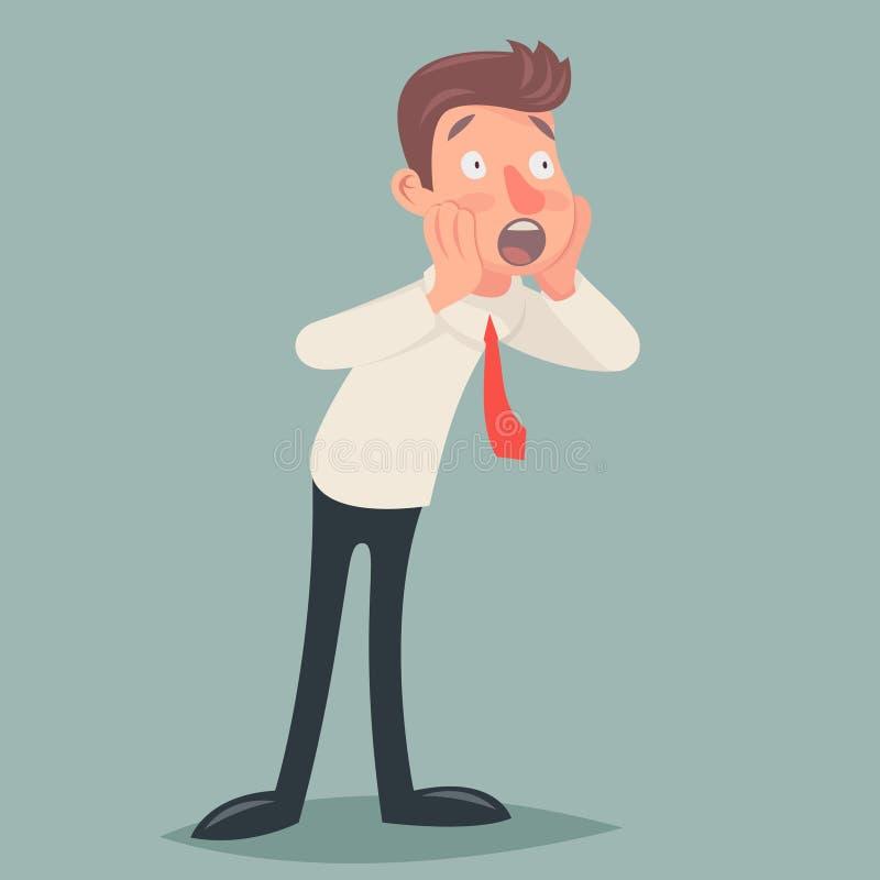 Shoked rocznika biznesmena charakteru ikony mężczyzna niespodzianki kreskówki projekta wektoru Wyrażeniowa Retro ilustracja ilustracji