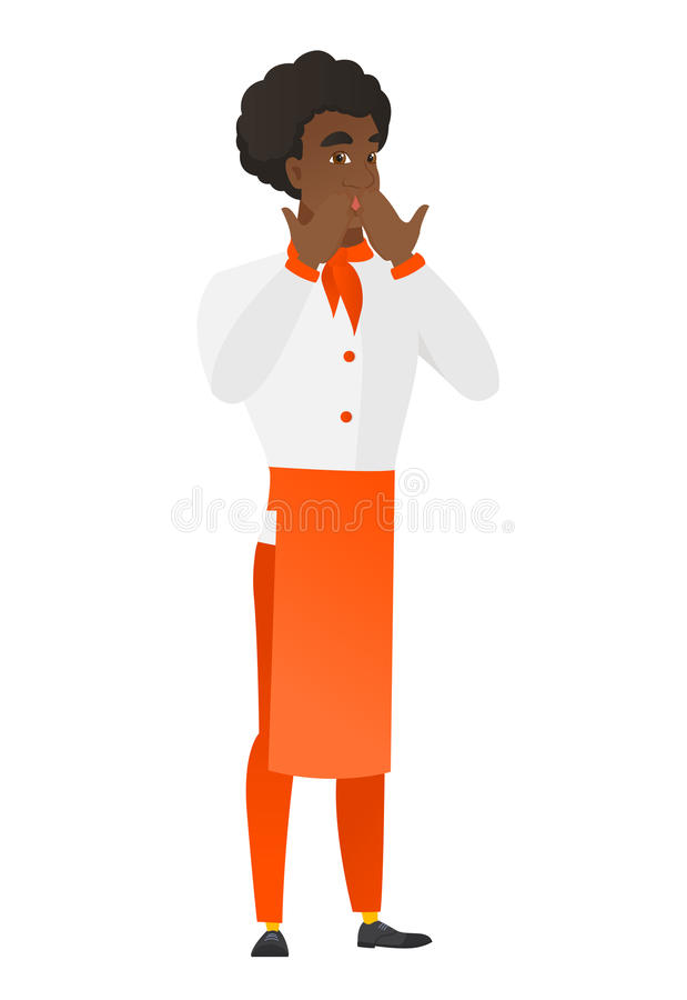 Shoked szefa kuchni afroamerykańskiego kucharza nakrywkowy usta royalty ilustracja