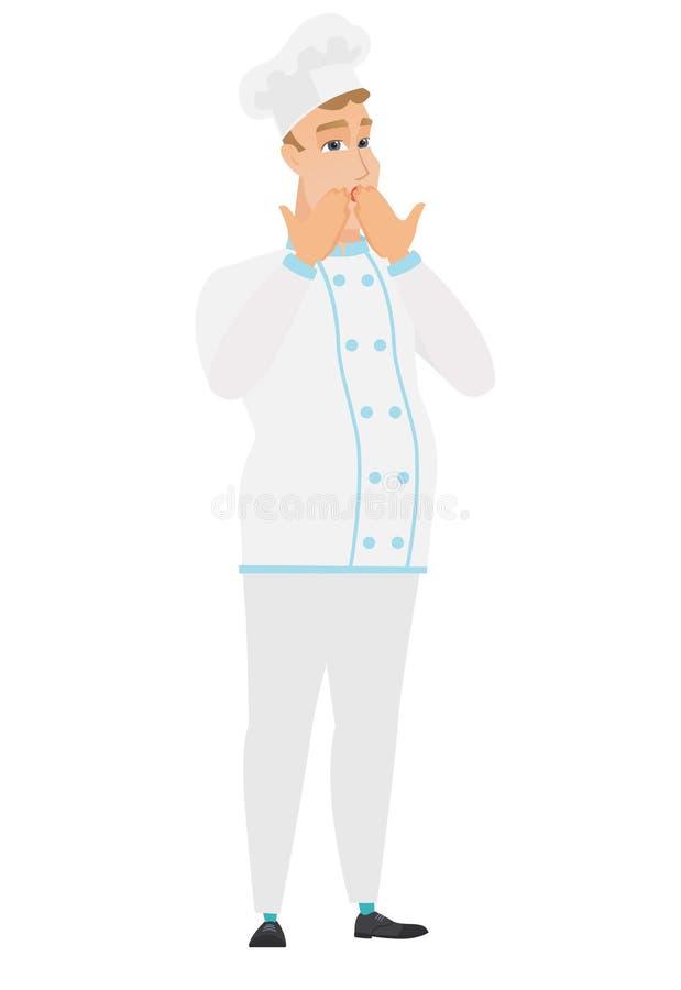 Shoked szefa kuchni caucasian kucharz zakrywa jego usta royalty ilustracja