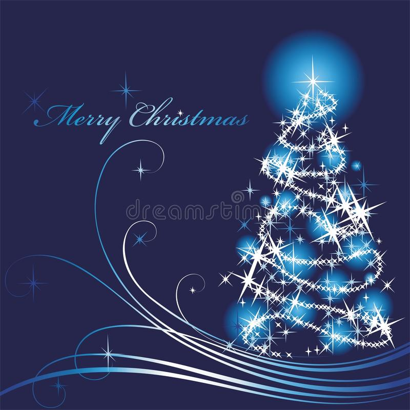 Download Shone Christmas Tree On A Blue Background Stock Vector - Image: 16811324