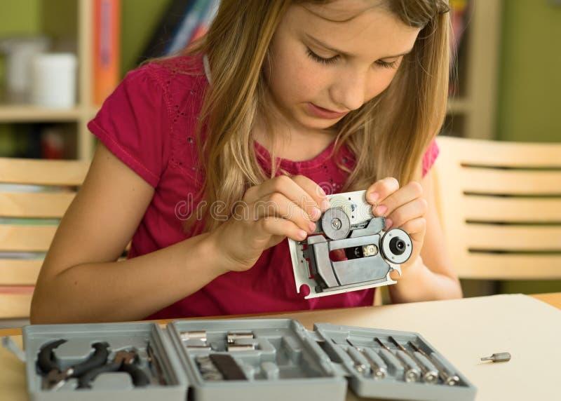 Shool Mädchen besetzt lizenzfreie stockfotos