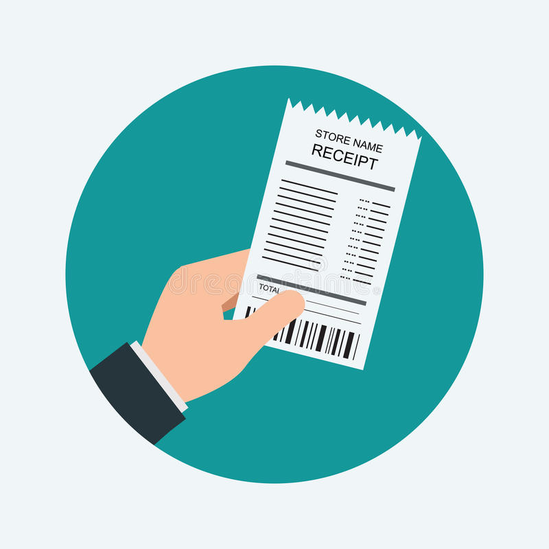Shooping kvitto för mänsklig livsmedelsbutik för hand hållande royaltyfri illustrationer