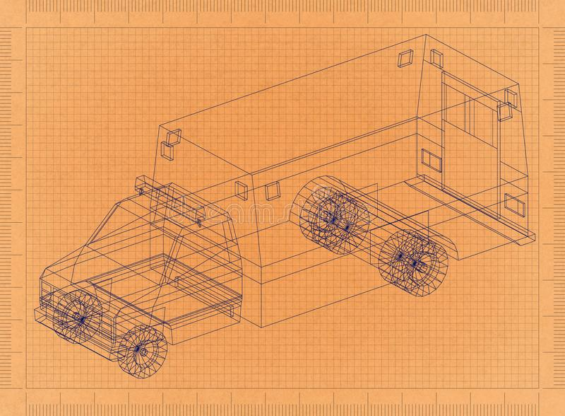Ambulance car - Retro Blueprint vector illustration