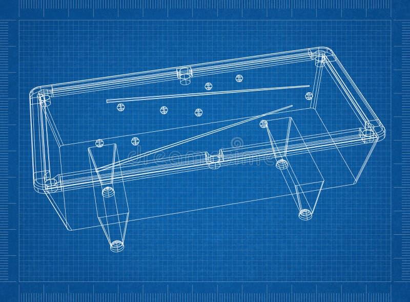 Billiard pool table 3D blueprint. Shoot of the billiard pool table 3D blueprint royalty free illustration