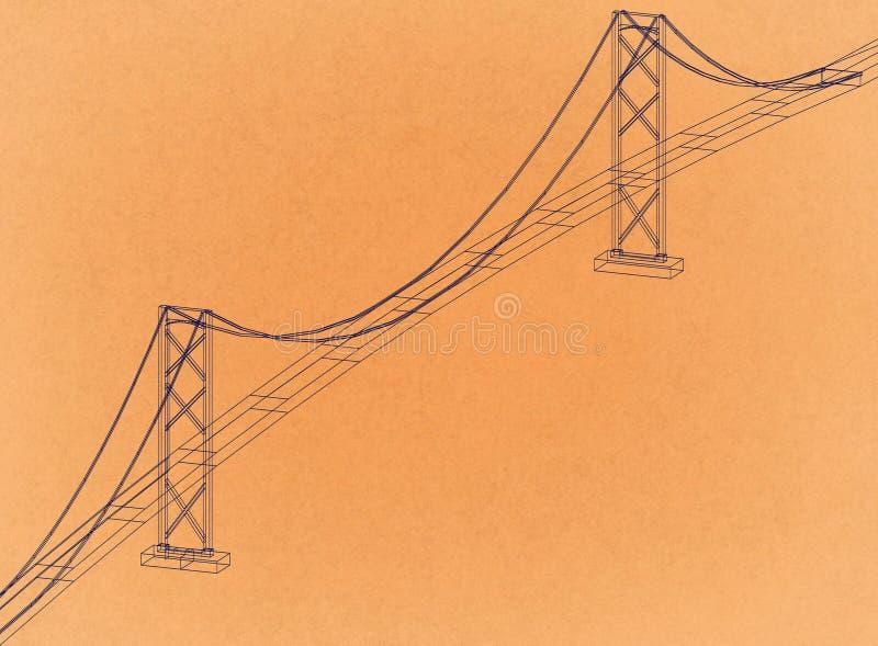 Bridge Design - Retro Architect Blueprint royalty free illustration