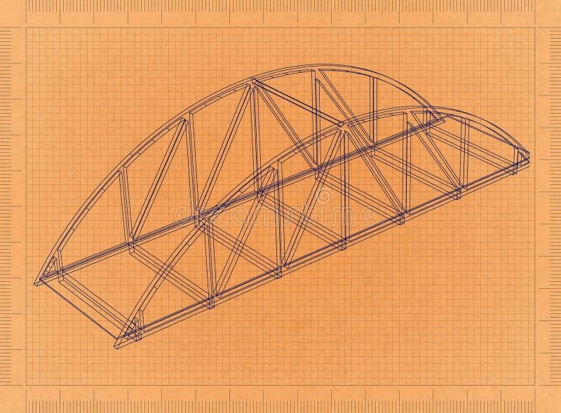 Bridge - Retro Blueprint vector illustration