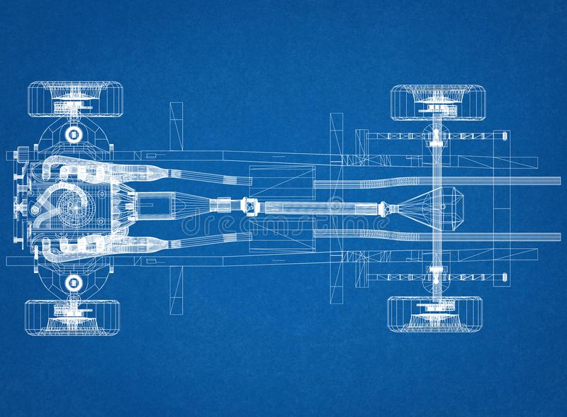 Car chassis and engine Design - Blueprint royalty free illustration