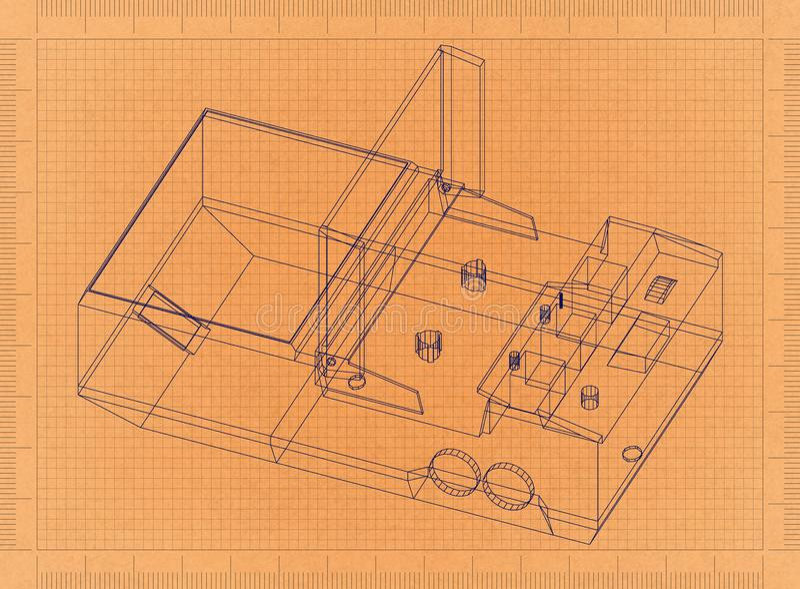 Cassette player - Retro Blueprint vector illustration