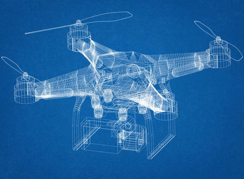 Drone Concept Architect Blueprint stock illustration