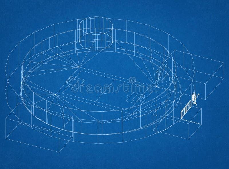 Football stadium Architect Blueprint stock illustration