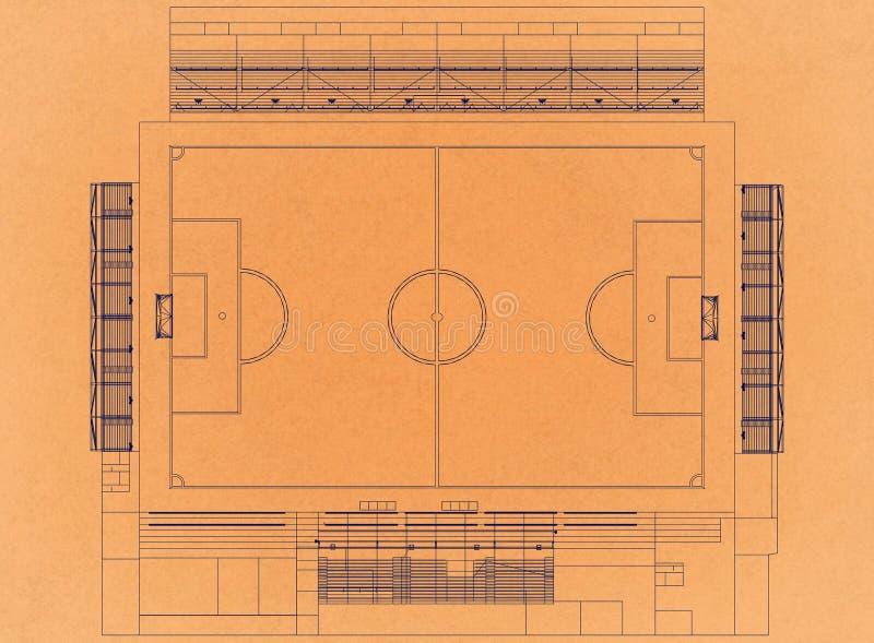 Football stadium - Retro Architect Blueprint. Shoot Of the football stadium - Retro Architect Blueprint stock illustration