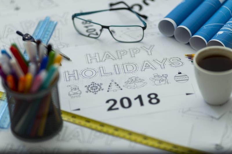 Happy holidays blueprint stock photos