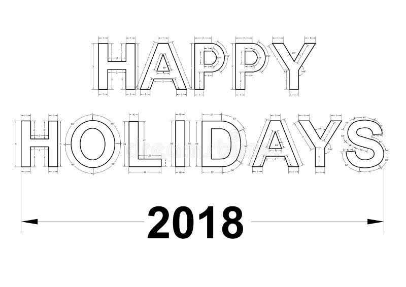 Happy holidays blueprint - isolated royalty free illustration