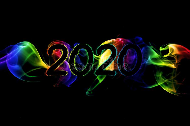 Happy New Year 2020 Abstract Smoke Background stock illustration