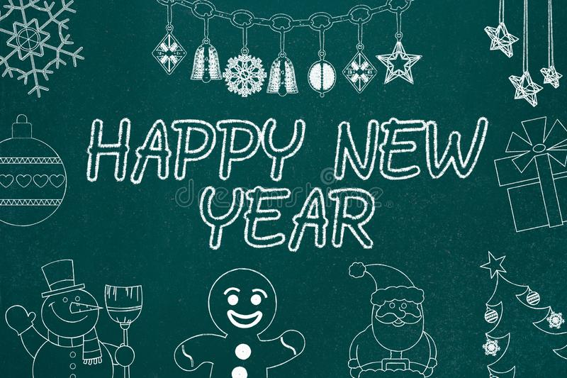 Happy New Year Decoration. Chalkboard Drawings Background vector illustration