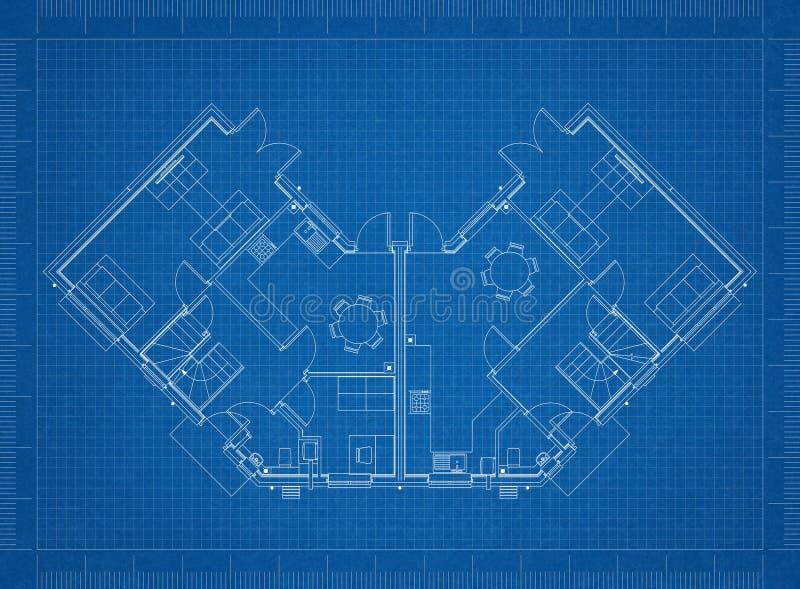 House layout design blueprint stock illustration