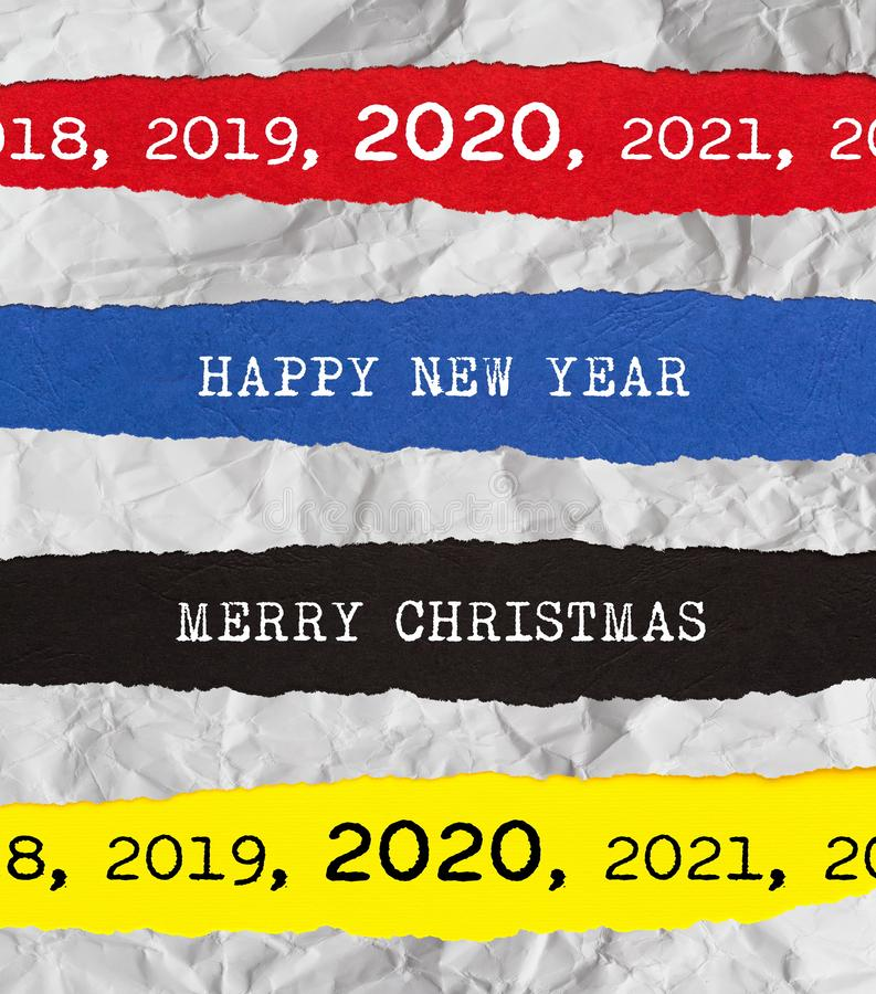 Merry Christmas and Happy New Year 2020 Ripped Paper Background royalty free stock photos