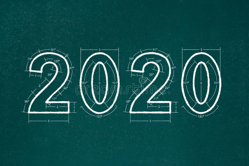Happy Holidays 2020 BlueprintNew Year 2020. Chalkboard Sketch Background. Shoot  of the New Year 2020. Chalkboard Sketch Background royalty free illustration