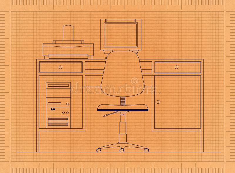 Office Desk with Computer - Retro Blueprint stock illustration