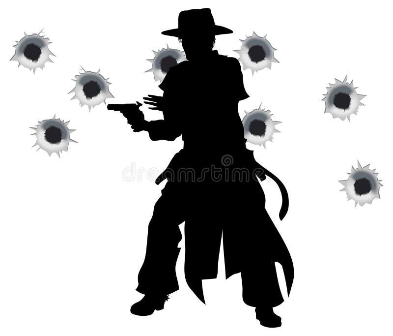 Shoot-out occidental del hondero del arma libre illustration