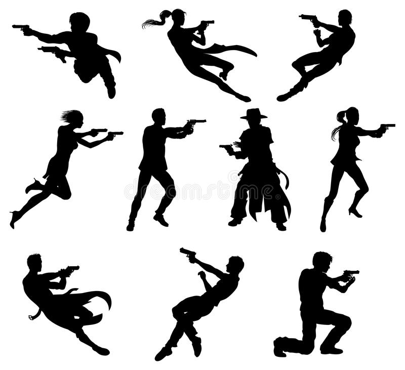 Shoot out silhouettes. Silhouettes of movie action sequence shootout men and women in dynamic poses vector illustration