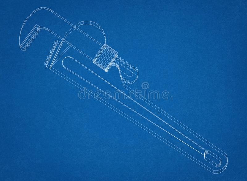 Pipe Wrench Architect Blueprint. Shoot Of The Pipe Wrench Architect Blueprint royalty free stock image