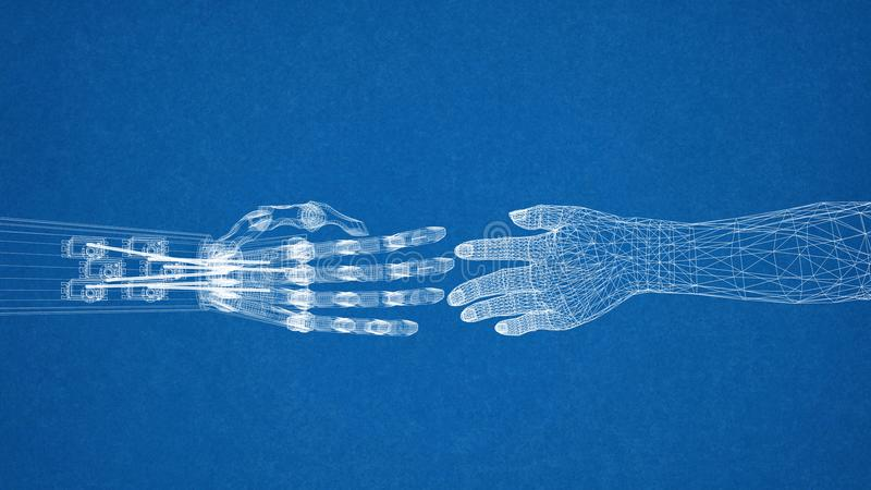 Robotic and human hands design architect blueprint stock download robotic and human hands design architect blueprint stock illustration illustration of future malvernweather Gallery