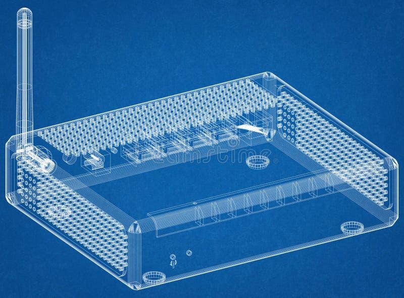 Router Architect Blueprint royalty free stock photos