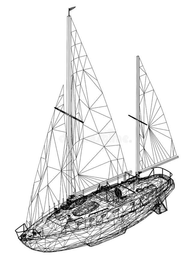 Sailing boat 3D Blueprint - isolated royalty free illustration