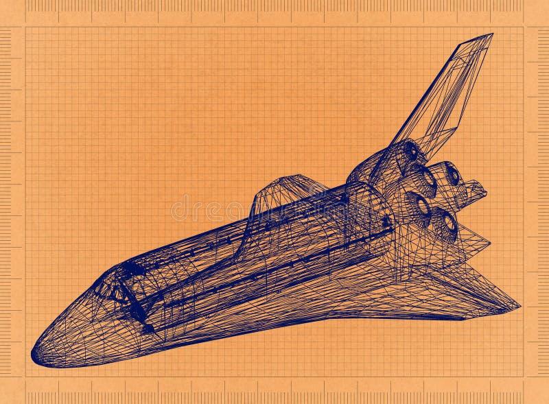 Space Shuttle - Retro Blueprint stock illustration